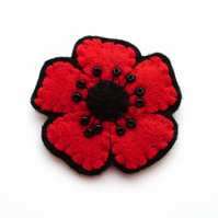 SALE: Red Poppy Brooch, small