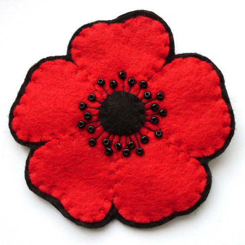 Red Poppy Brooch, large