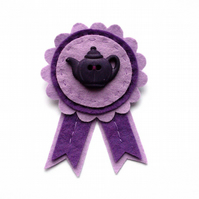 SALE: Teapot Brooch, felt rosette, purple