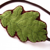 Sale: Spring Green Oak Leaf, felt hairband