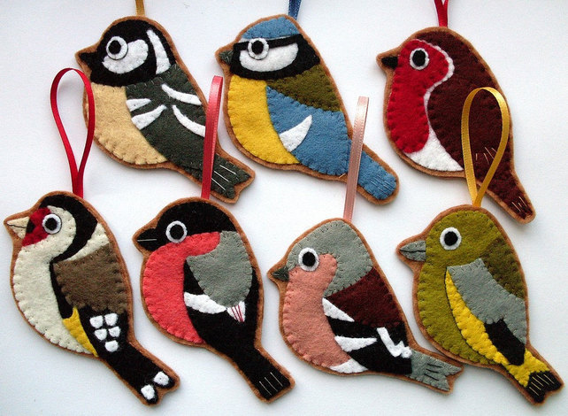 british birds set of 7 felt christmas decorations