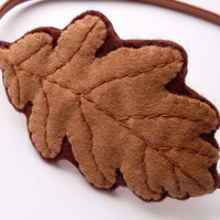 SALE: Brown Oak Leaf, felt headband