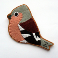 SALE: Chaffinch, Felt Bird Brooch