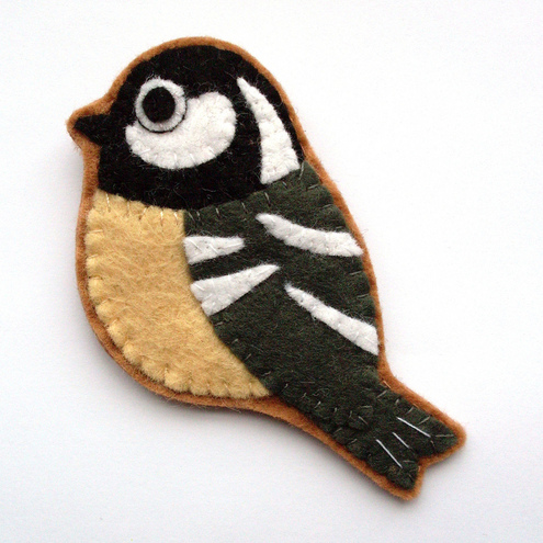 SALE: Coal Tit, Felt Bird Brooch