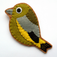 SALE: Greenfinch, felt bird brooch