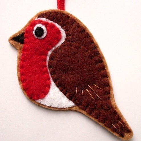 Robin Felt Bird Ornament Christmas Decoration Folksy