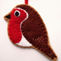 Robin, felt bird ornament, Christmas decoration