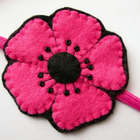 SALE Flower Headband - pink poppy