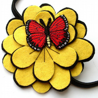 Sale: Butterfly Flower Hairband, red and yellow