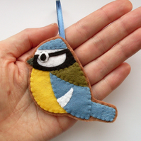 Bluetit, felt bird Christmas Ornament