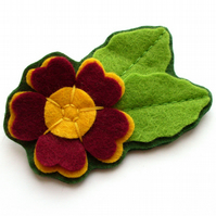 SALE: Auricula Brooch, felt flower brooch