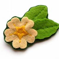 SALE: Primrose Brooch, Felt Flower Brooch