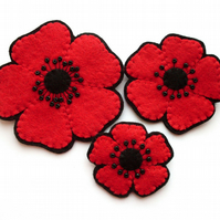 3 Red Felt Poppy Brooches