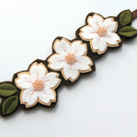 SALE: White & Peach Cherry Blossom Trio, Felt Flower Hairband