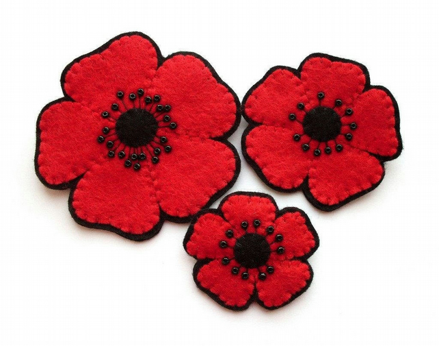PDF: Felt Poppies Sewing Tutorial & Poppy Embroidery Pattern (Digital File)