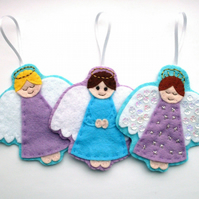 PDF: Felt Angel Christmas Ornaments Tutorial & Embroidery Pattern (Digital File)