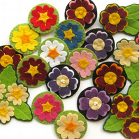 PDF: Felt Primroses & Auriculas, Flower Brooches Sewing Tutorial, (Digital File)