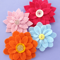PDF: Fabulous Flowers Felt Brooch Tutorial & Embroidery Patterns (Digital File)