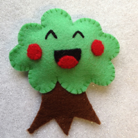 Happy Tree Felt Brooch