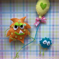 "Felt Monster Shadow Box - ""A Balloon Makes Everything Better"""