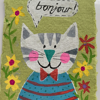 Kooky Kritters - Cat - Original Artwork on A7 Khadi paper