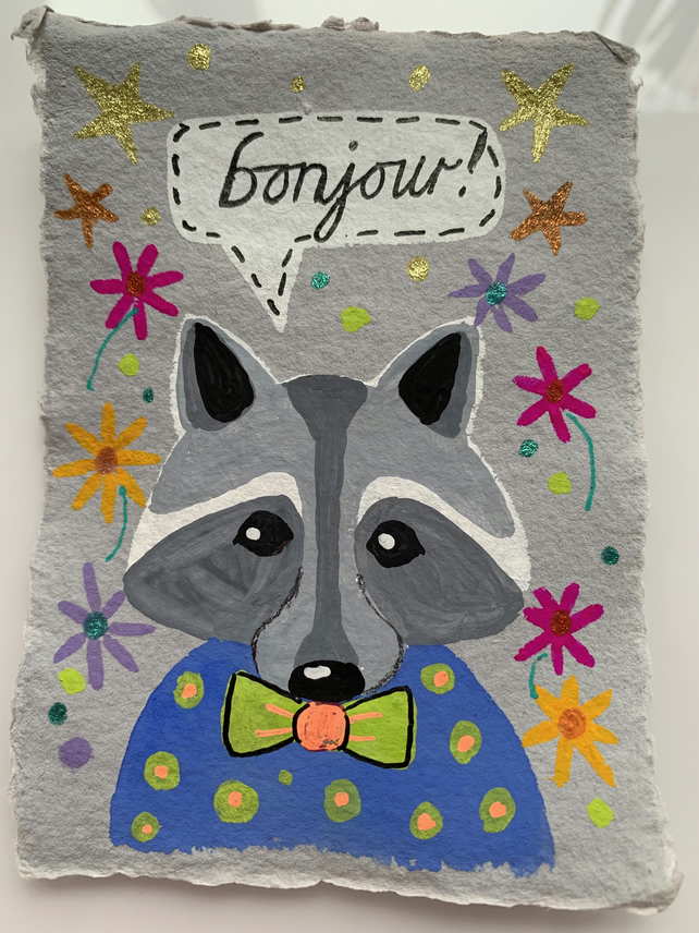 Kooky Kritters - Raccoon - Original Artwork on A7 Khadi paper
