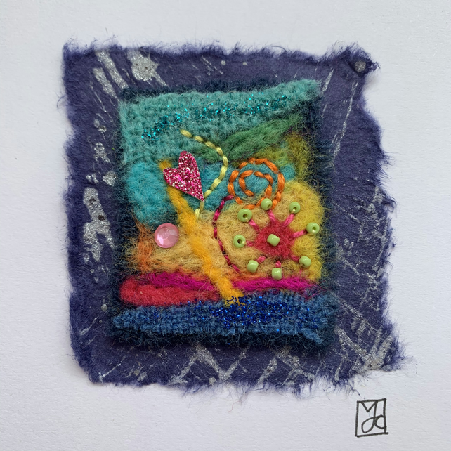 Needle Felted Textile Art Card