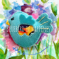 Bluebird of Happiness Felt Brooch Pin