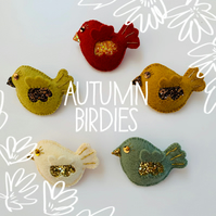 Autumn Birdie Felt Brooch Pin