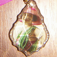 Chandelier pendant with vintage image
