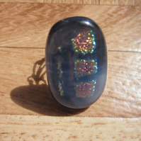 Handmade dichroic glass cabochon filigree ring - Smoke with pink purple shimmer