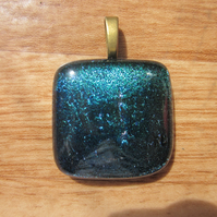 Handmade dichroic glass cabochon pendant - Emerald Teal Shimmer