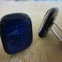 Handmade glass chunky cufflinks - True Blue