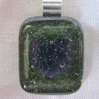 Handmade fused glass copper inclusion pendant - emerald dichroic with heart