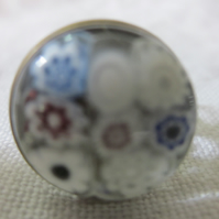 Handmade glass cabochon filigree ring - white flowers on clear
