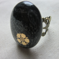Handmade dichroic glass cabochon filigree ring - steel with Tudor rose
