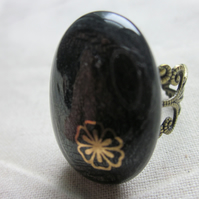 Handmade dichroic glass cabochon filigree ring - steel with clematis