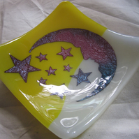 Handmade fused glass candy bowl - copper moon and stars on cream and yellow