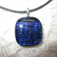 Handmade dichroic glass cabochon pendant - Prussian blue stripes