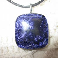 Handmade dichroic glass cabochon pendant - Purple black enamel fairy on flower