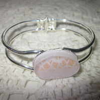 Handmade fused glass bangle - delicate pink mosaic