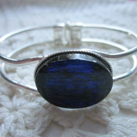 Handmade fused glass bangle - royal blue ripple