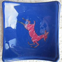 Handmade fused glass candy bowl - copper deer on deep blue