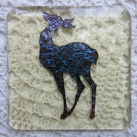 Handmade fused glass coaster - copper deer on pale amber tint