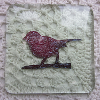 Handmade fused glass coaster - copper sparrow on pale green tea tint