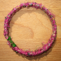 Textile bangle 'Dicentra' small to medium - recycled sari silk