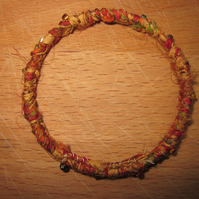 Textile bangle 'Chrysanthemum' small to medium - recycled sari silk