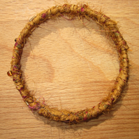 Textile bangle 'Cymbidium' small to medium - recycled sari silk