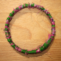 Textile bangle 'Fuschia' small to medium - recycled sari silk