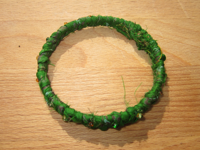 Textile bangle 'Coriander' small to medium - recycled sari silk